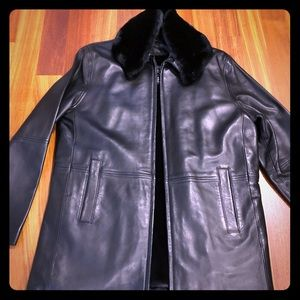 3/4 length black leather jacket- fully lined.